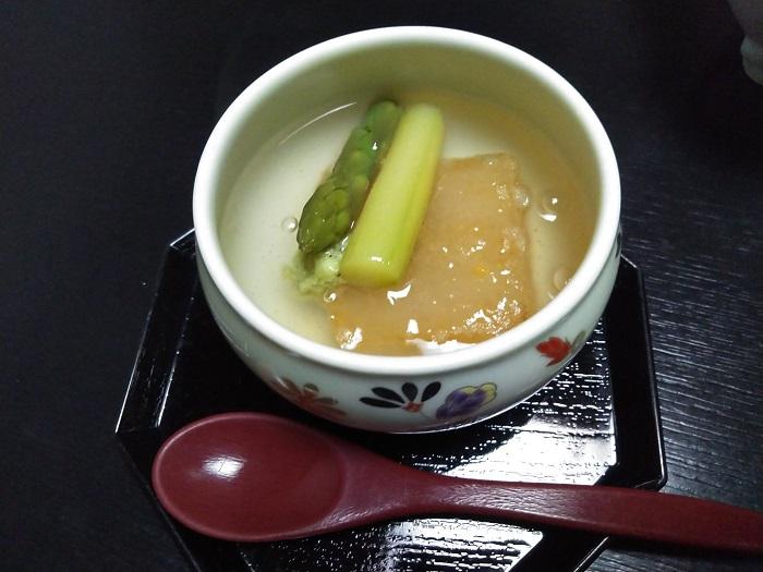 柚子豆腐のアスパラ添え